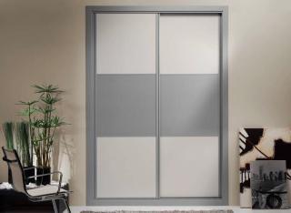 Frente de armario Combinado Melamina Aluminio y Textil Marfil